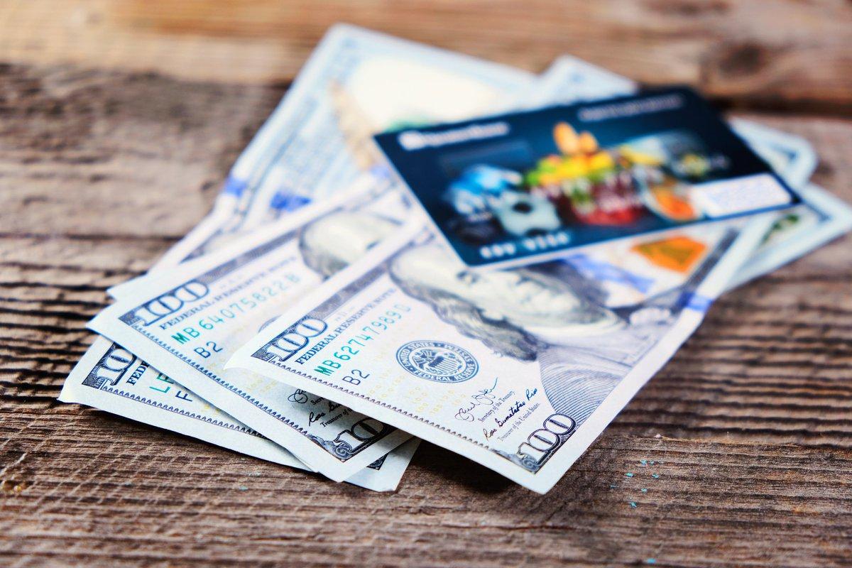 $100 bills and credit card