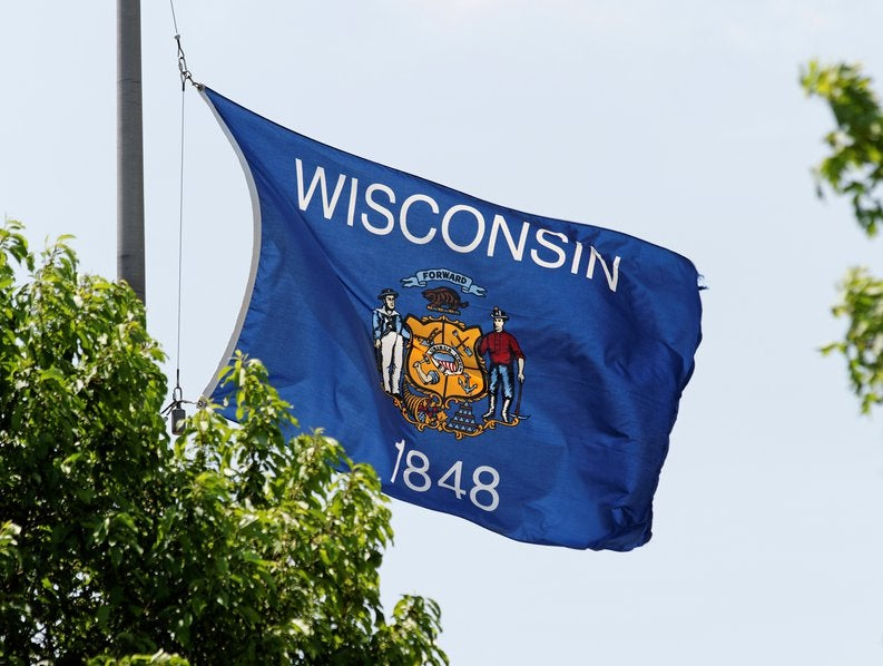 The Wisconsin state flag flying on a flag pole near green trees.