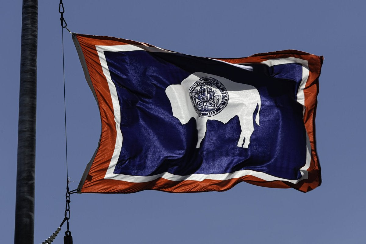 The state flag of Wyoming flying in front of a blue sky.