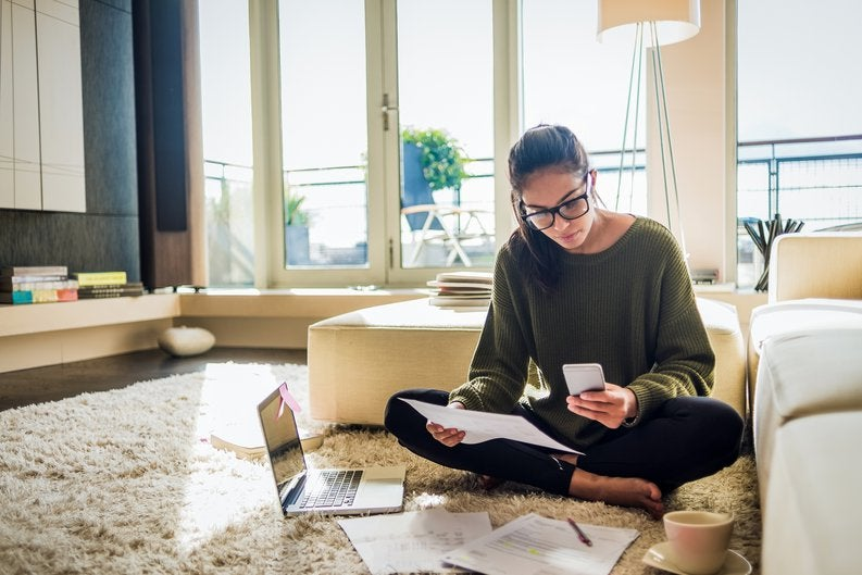 Youg Woman Studying With Laptop