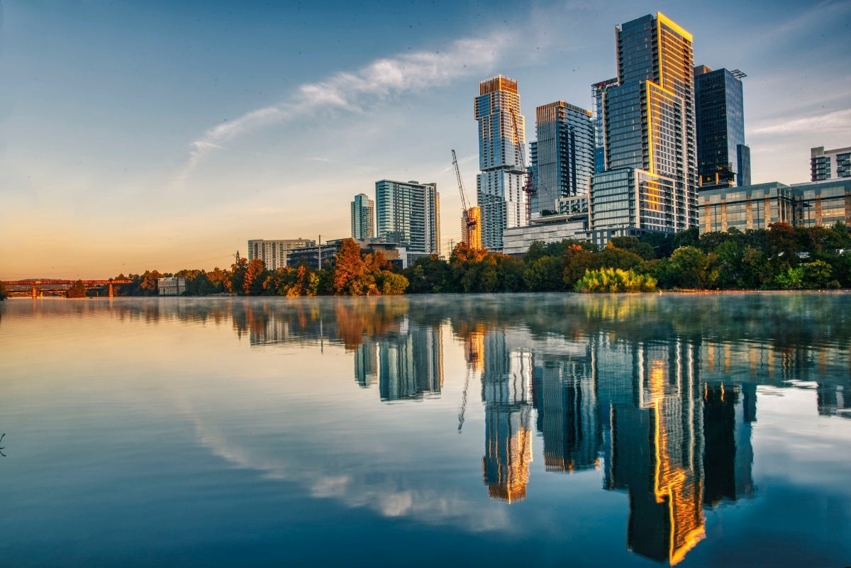 View of Austin, Texas, from river.