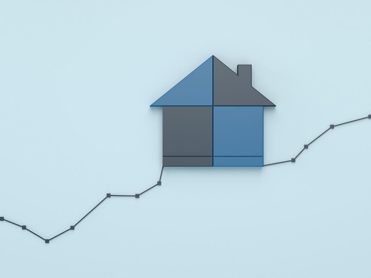 House on a rising line graph.