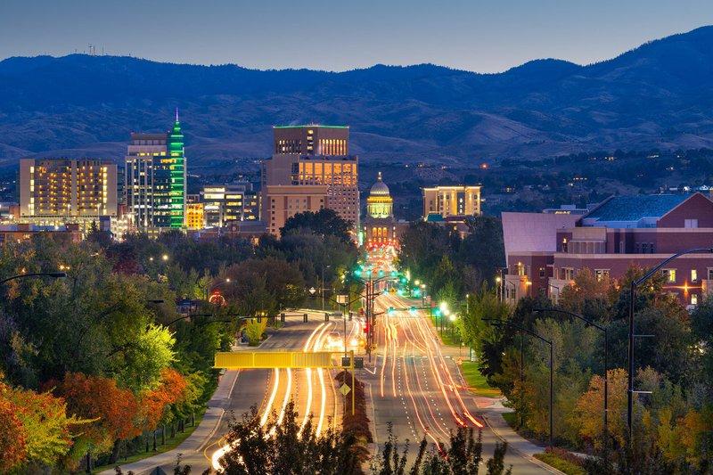 Boise, Idaho, at night.
