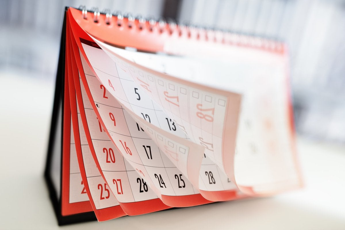 Calendar with pages flying.