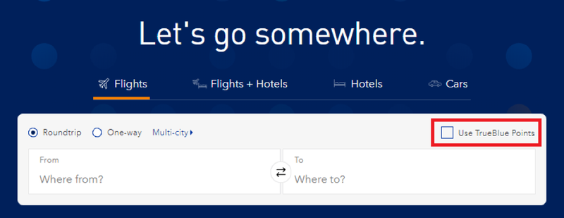 """searching for flights with """"use TrueBlue points"""" selected"""