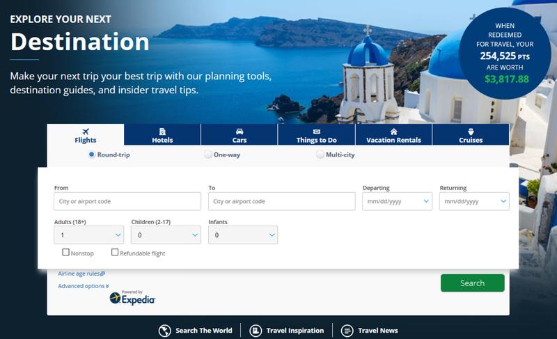 chase ultimate rewards website asking user to choose flights