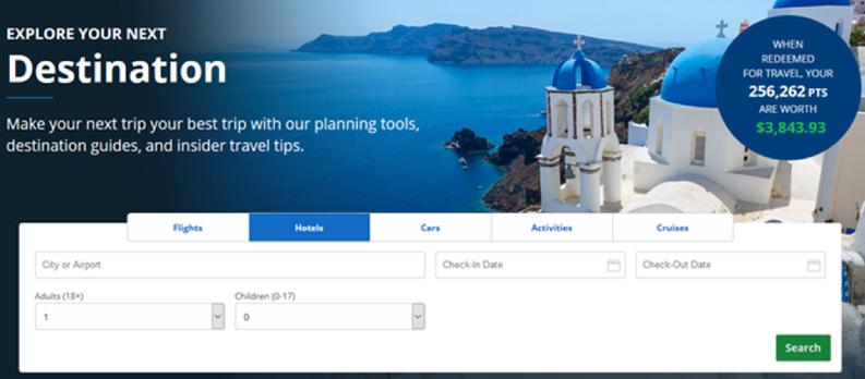 Selecting travel destination on Chase website