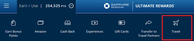 """chase ultimate rewards website with """"travel"""" link highlighted"""