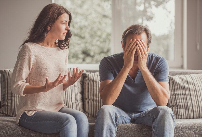 man and woman having difficult conversation