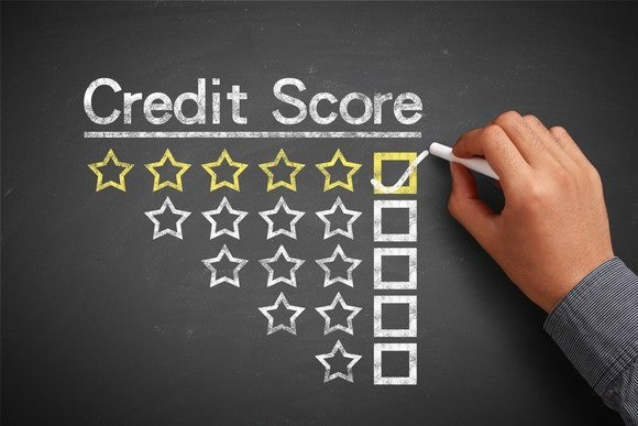 A chalkboard reading Credit Score with five different star rating options beneath.