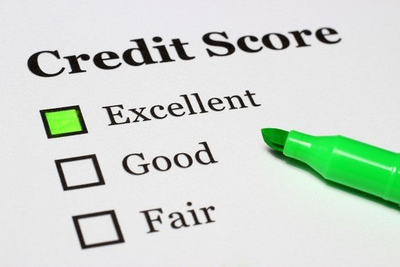 """credit score"" printed on paper, with ""excellent,"" ""good,"" ""fair"" below it and excellent checked off with green marker"