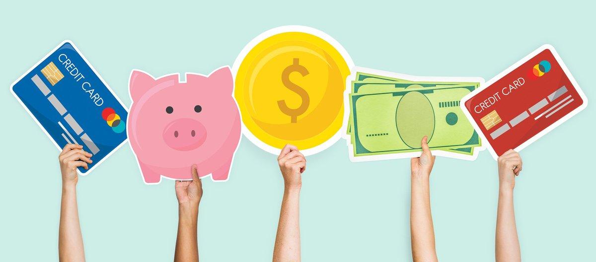 credit card, piggy bank, and cash