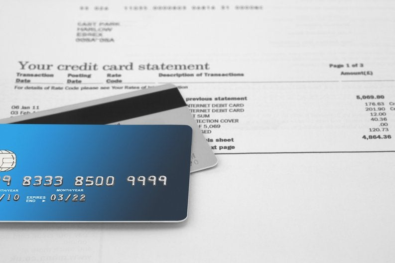 credit card statement with credit cards