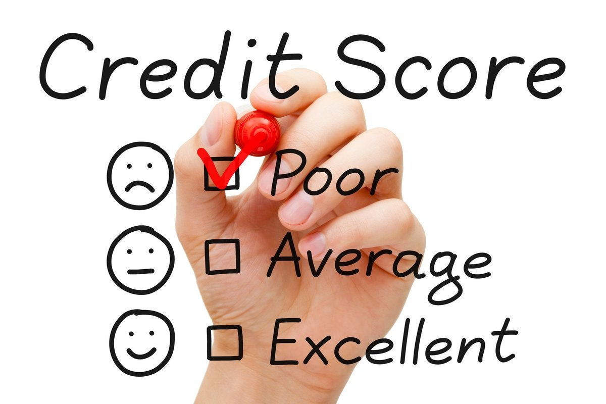 """Credit score chart with hand checking """"Poor"""""""