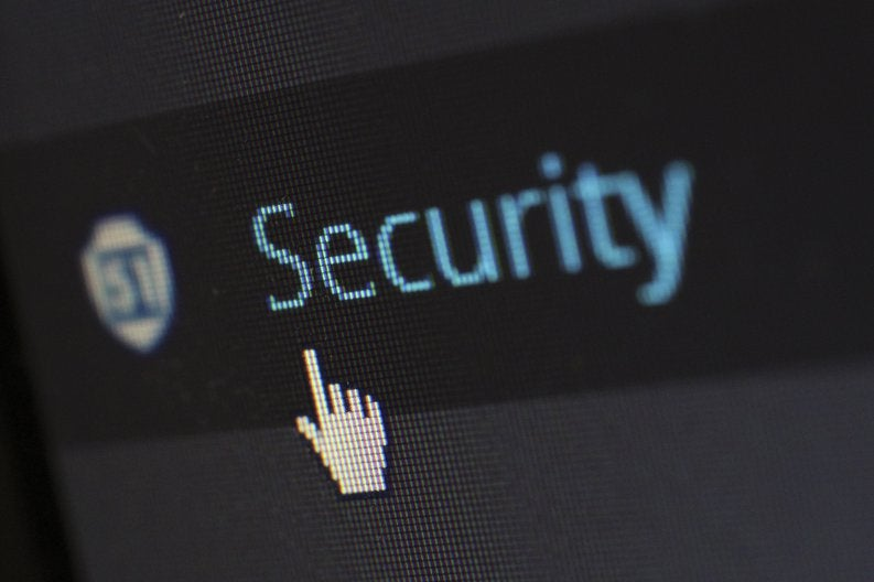 Security icon on computer screen