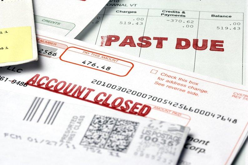 Stack of past due bills.