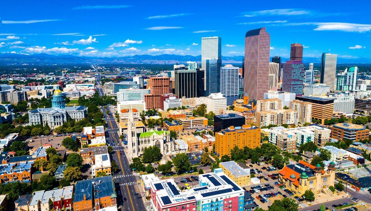 Aerial photo of downtown Denver, Colorado.