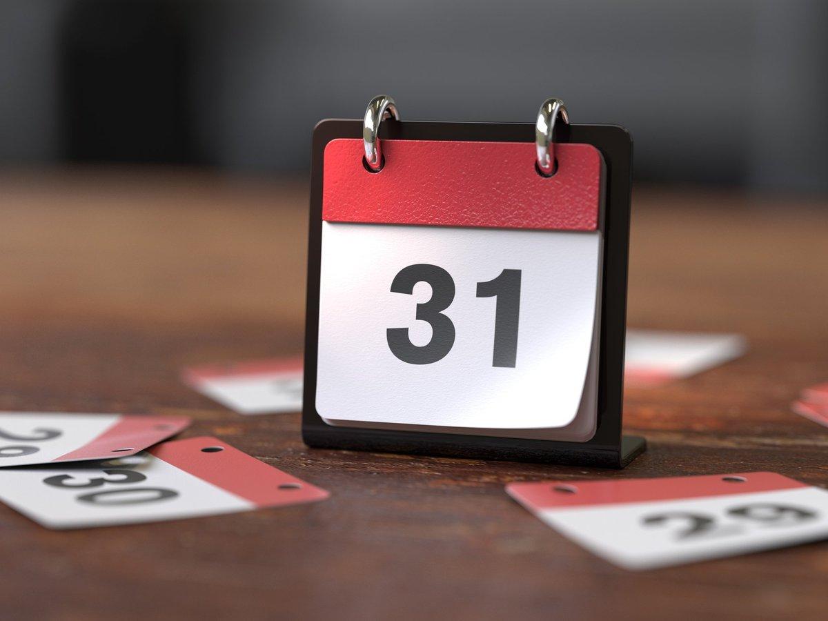 "desk calendar showing ""31"""