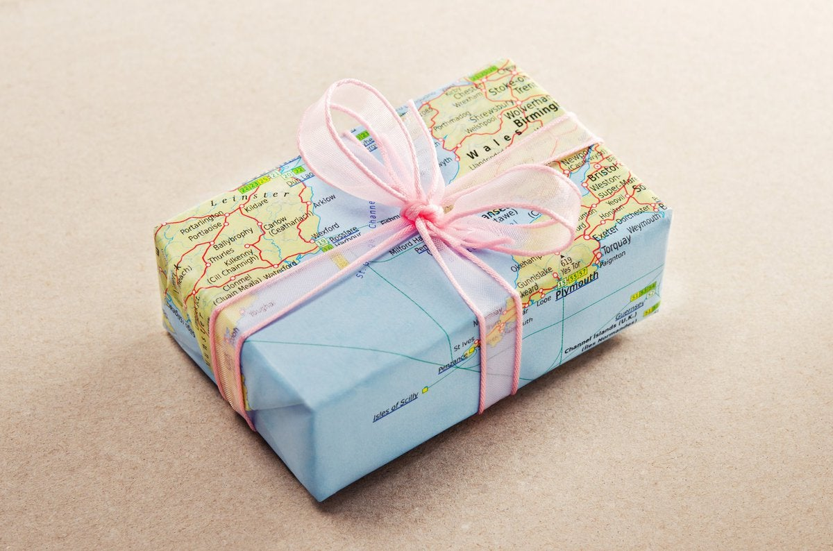 birthday gift with map wrapping paper