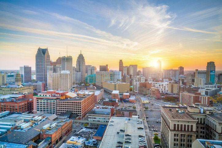 An aerial view of Detroit, Michigan, at sunset.