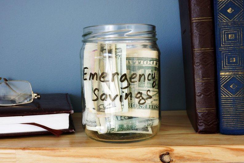 Cash in emergency savings jar