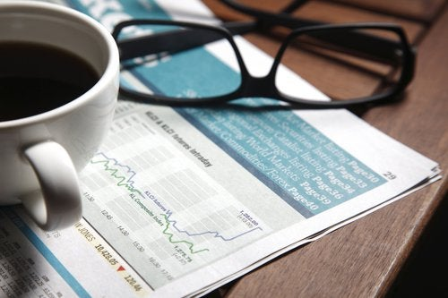 Financial paperwork showing rise in stock value