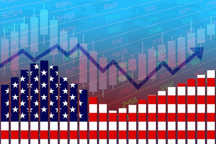 Economic trend lines and the U.S. flag