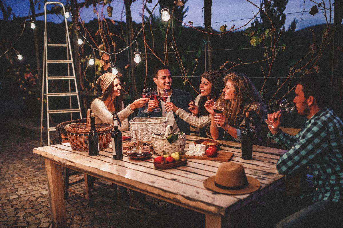 A group of young adult friends drinking wine at a picnic table in a decorated backyard patio.