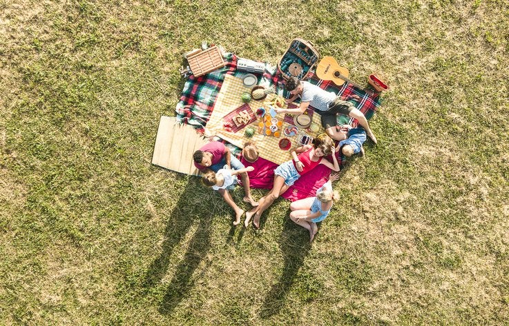 A group of friends sitting on a blanket in the grass and having a picnic.