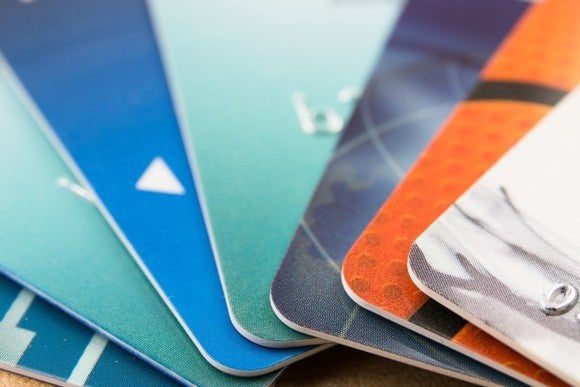 Fan of credit cards splayed out