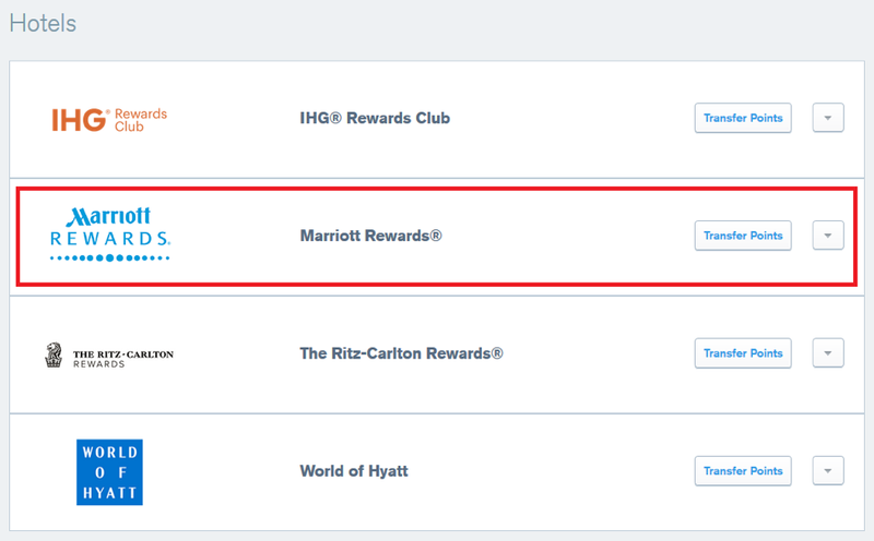 Selecting Marriott Rewards to transfer points