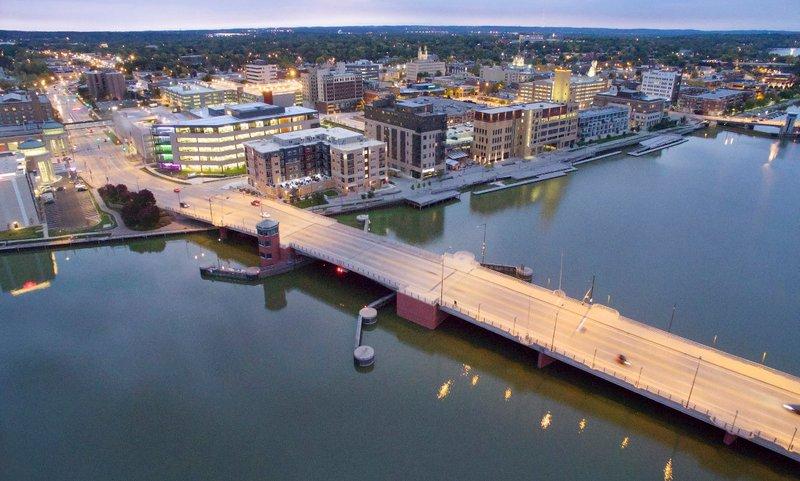 Green Bay, Wisconsin, with bridge.