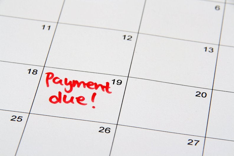 Calendar page that reads payment due on the 19th.