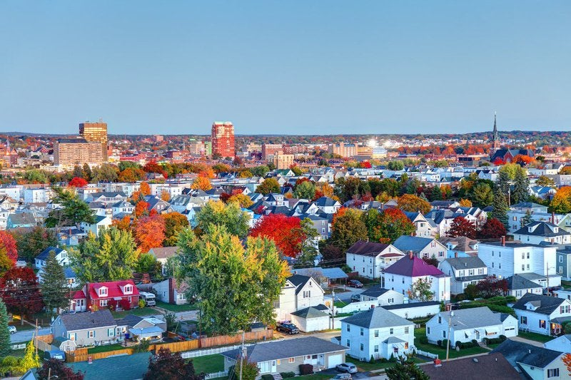 Manchester, New Hampshire in autumn.