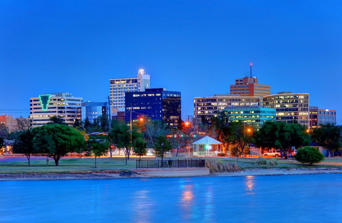 Midland, Texas at dusk from river.
