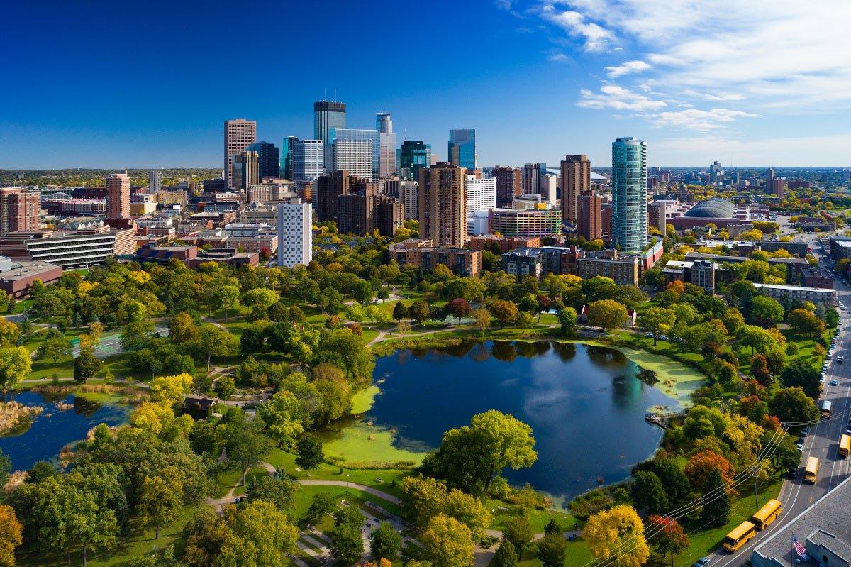 Aerial view of Minneapolis, Minnesota and lakes.