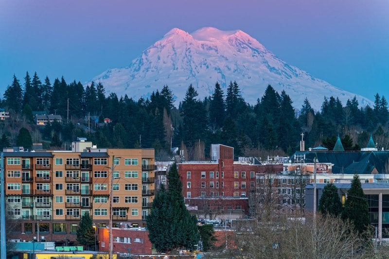 Olympia, Washington with mountains in background.