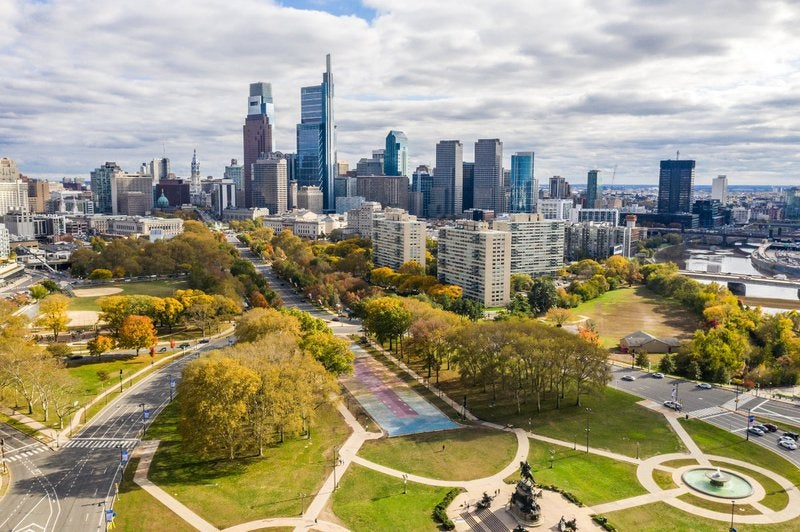 Philadelphia, Pennsylvania, with park in foreground.