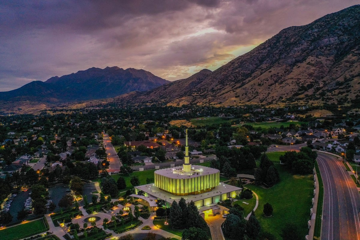Aerial photo of Provo, Utah, with mountains in background.