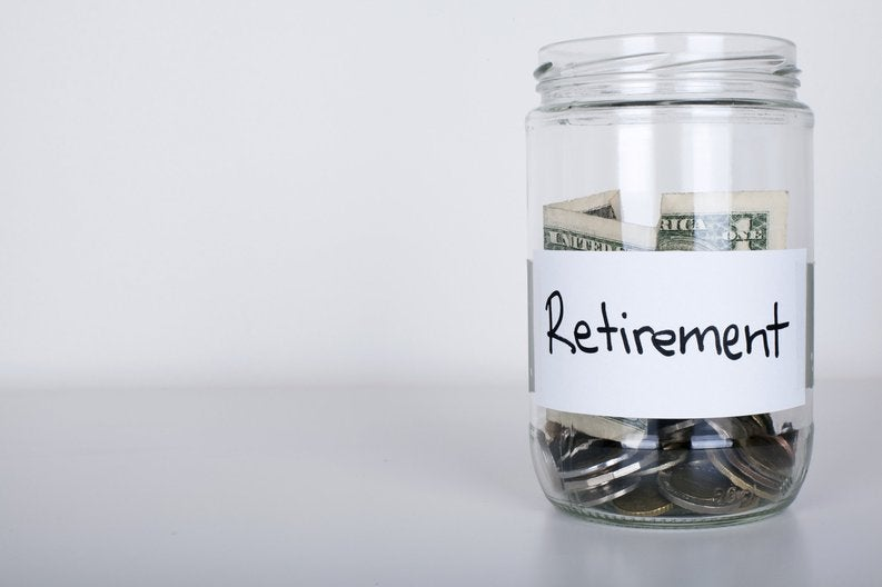 Jar of money with retirement label.