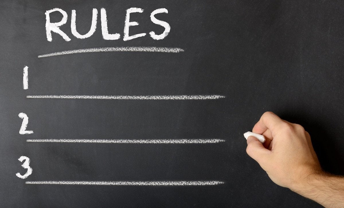 chalkboard showing a list of rules