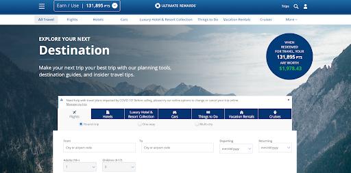 Chase travel portal screenshot.