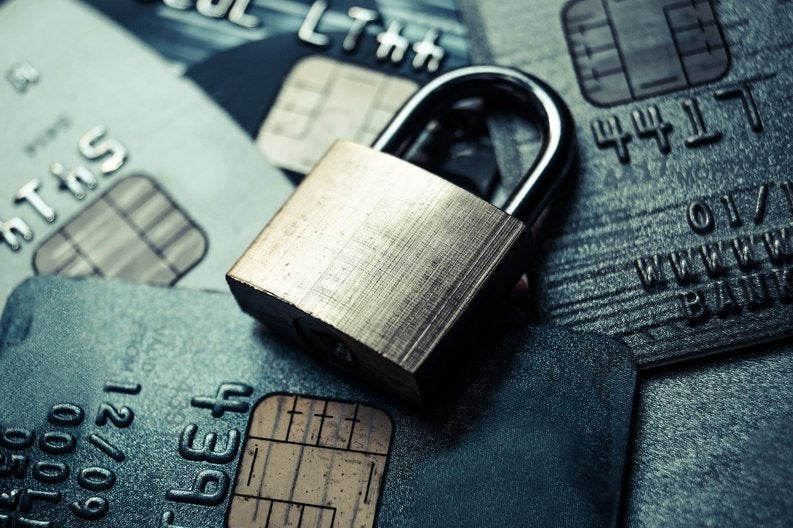secure credit cards with a lock over them