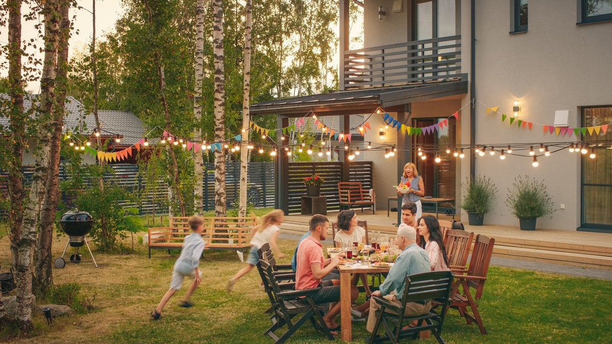 summer party outside house