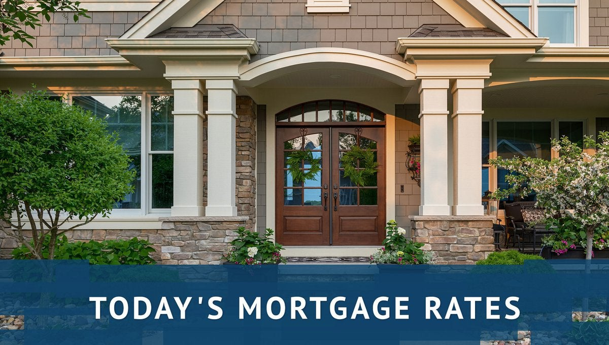 Fancy house with today's mortgage rates graphics.