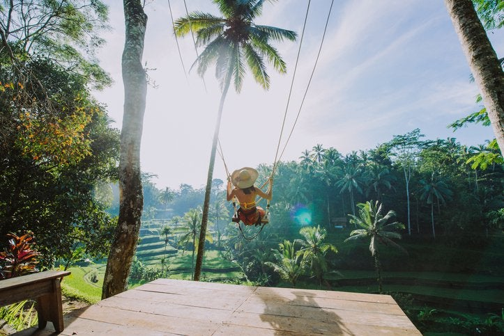 A woman sitting on a swing between palm trees overlooking a lush tropical valley.