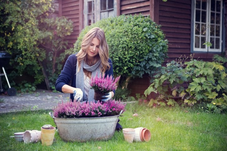 A woman planting flowers in a large pot in her yard with her house in the background.
