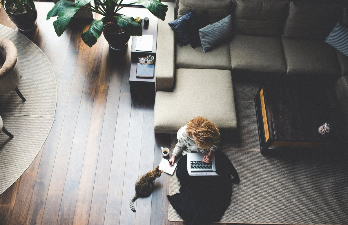 A woman sitting on the floor of her living room with her cat while working on her laptop.