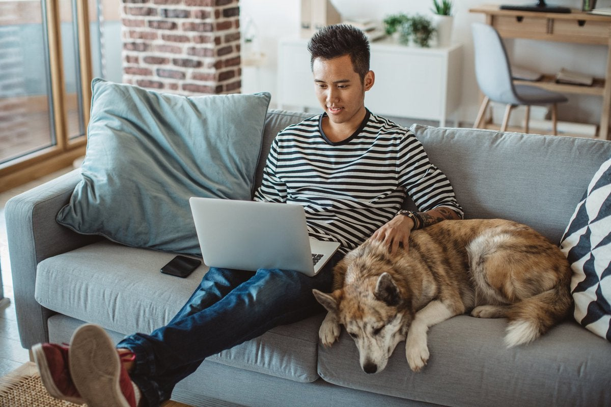 A young man working on a laptop from his couch with his dog sitting next to him.