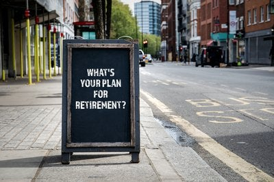 Outdoor sign reading What's your plan for retirement?
